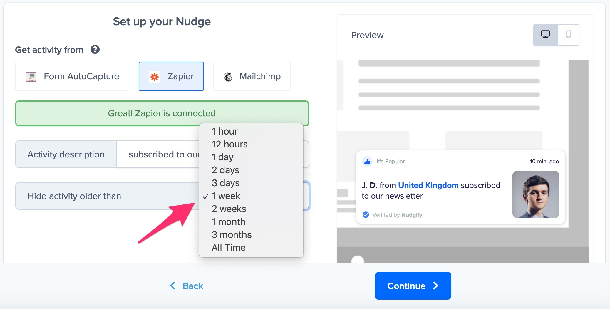 sign-up nudge