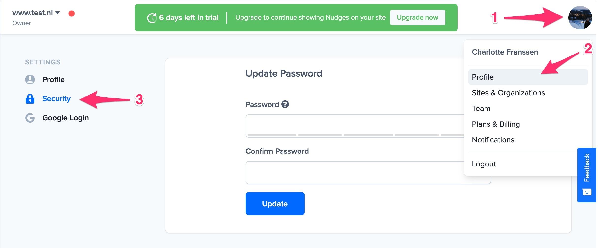 nudgify google password