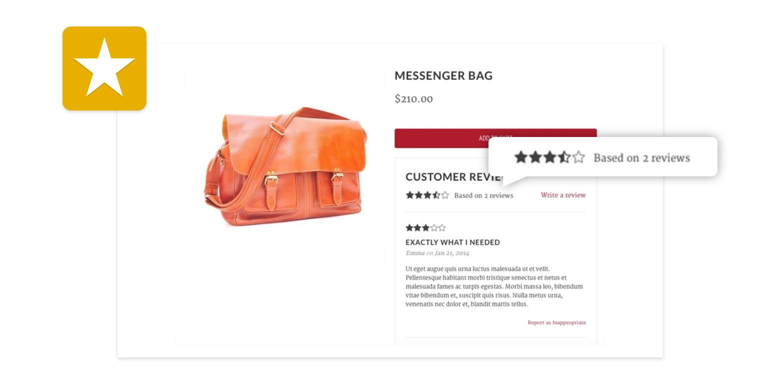 shopify product page reviews feature