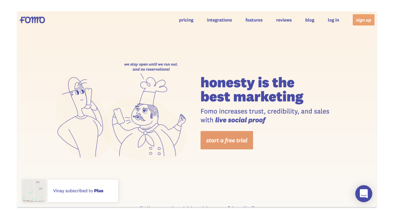 fomo homepage screenshot