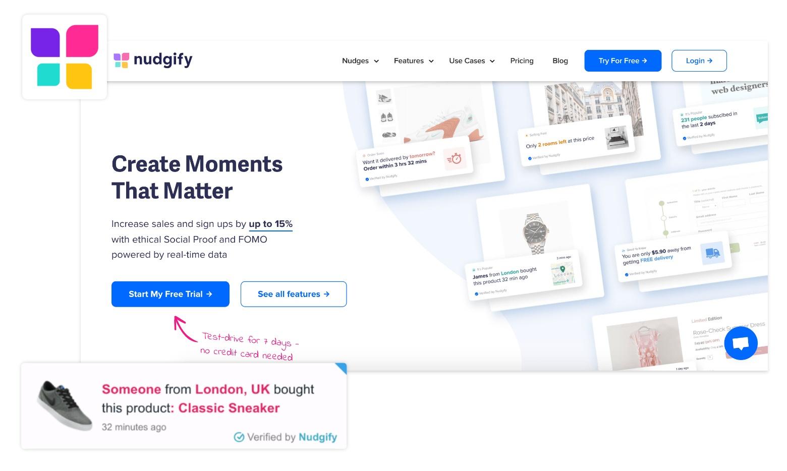 shopify sales pop nudgify