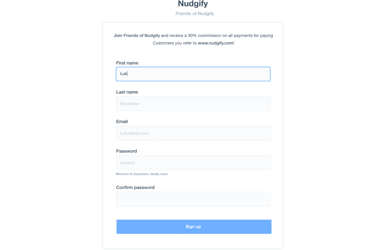 nudgify affiliate sign up