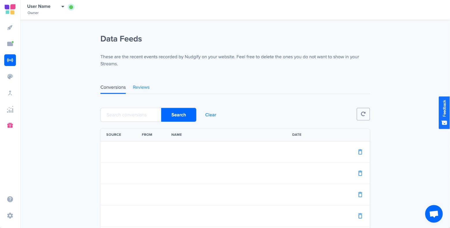 nudgify data feeds