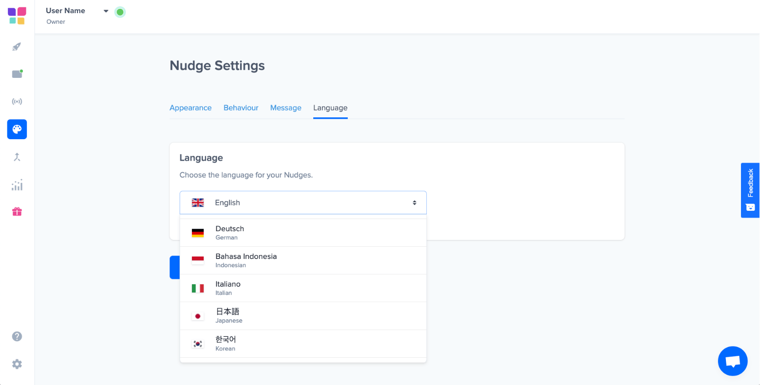 nudgify nudge settings language