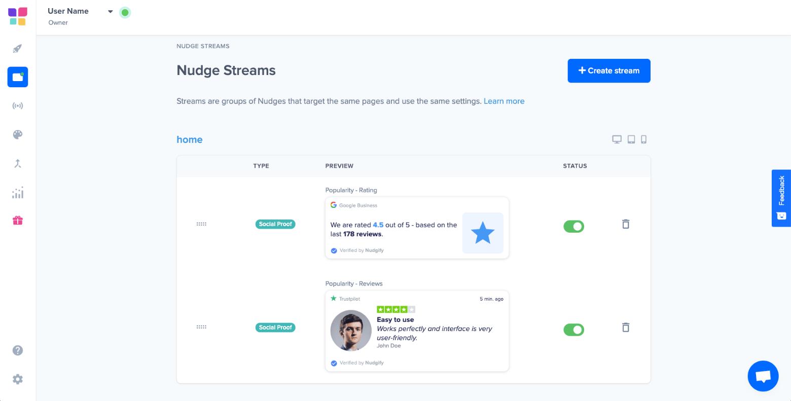 nudgify nudge streams