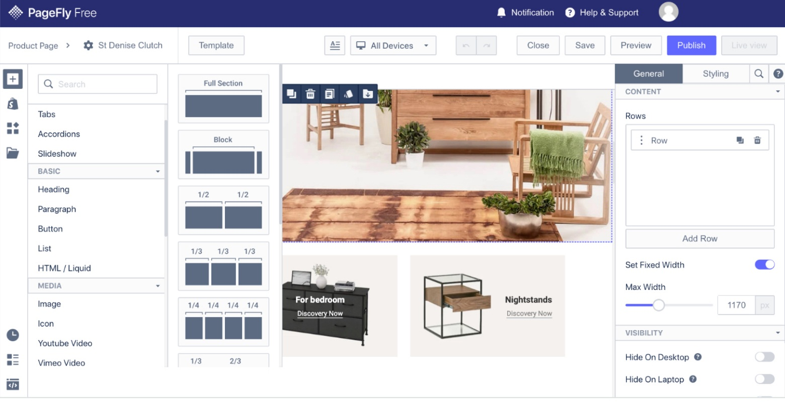 pagefly shopify page builder