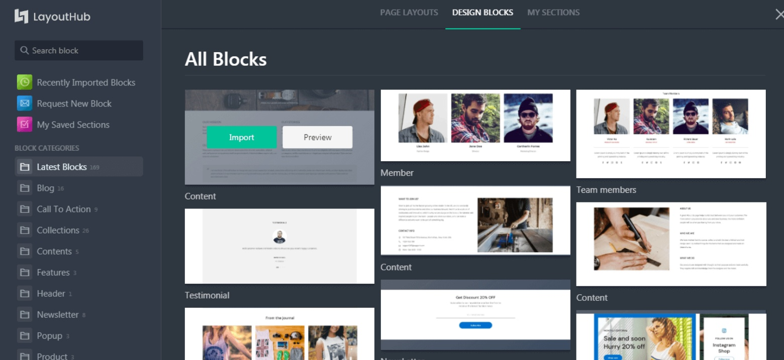 layout hub shopify page builder
