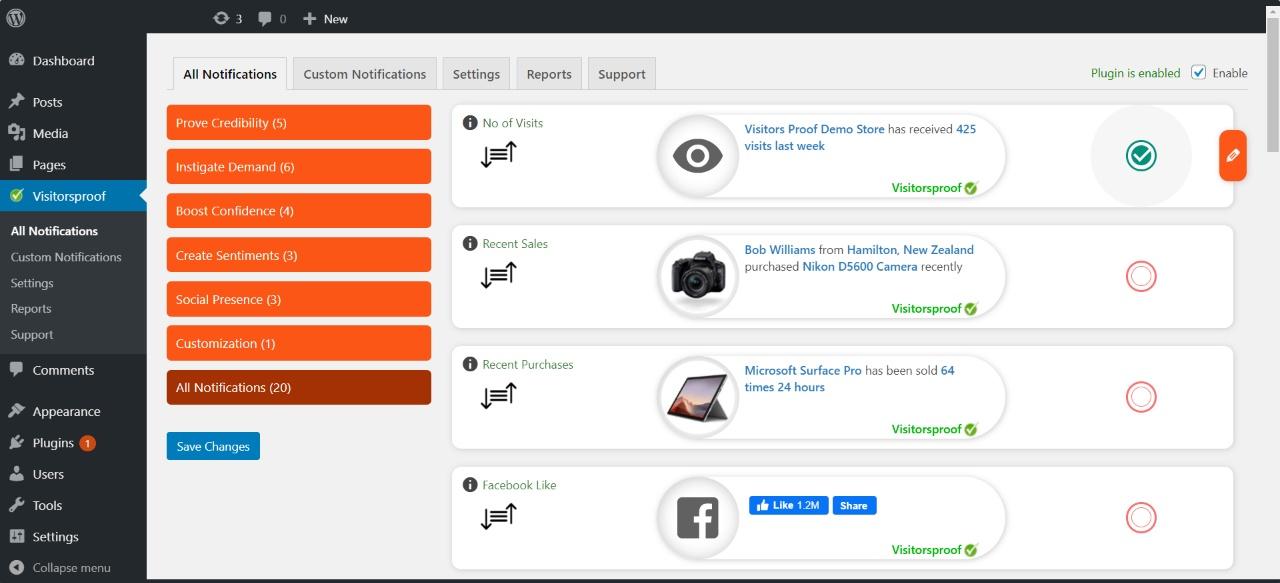 wordpress social proof plugin visitorsproof
