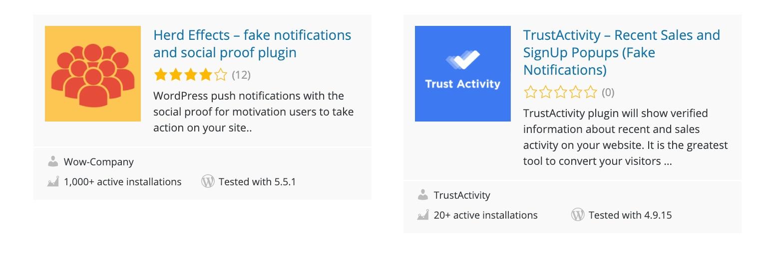 fake social proof notifications