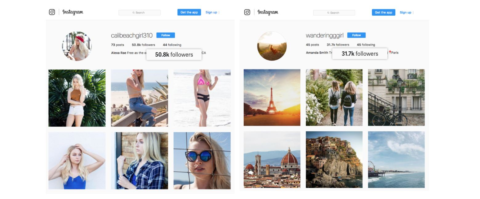 fake social proof accounts instagram