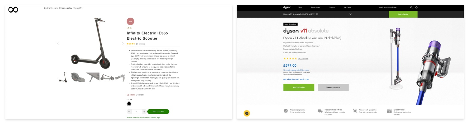 product page landing page